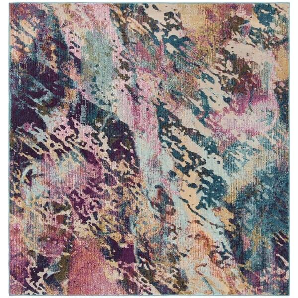 Safavieh Savannah Bohemian & Eclectic Blue / Grey Polyester Rug - 7' x 7' Square
