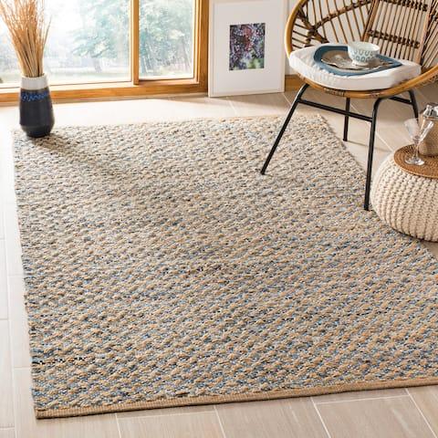 "Safavieh Hand-Woven Cape Cod Modern & Contemporary Blue / Natural Cotton Runner Rug - 2'3"" x 8'"