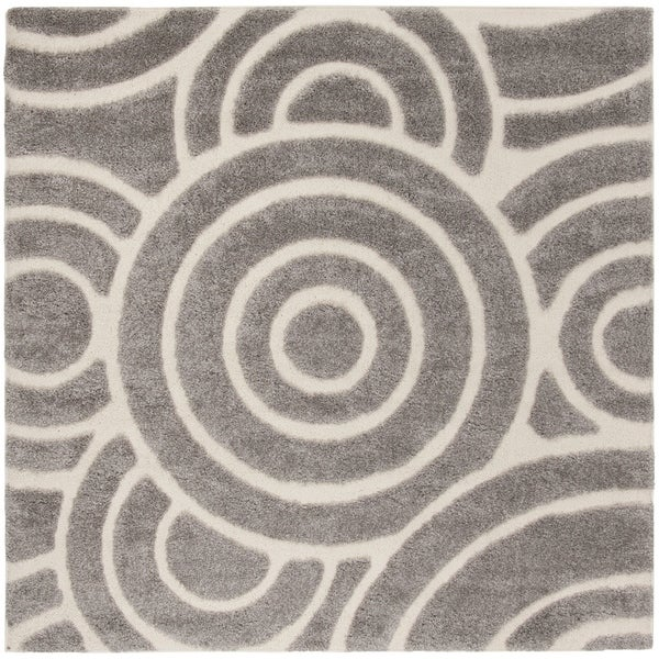 Safavieh Memphis Shag Grey / Cream Rug - 6' Square