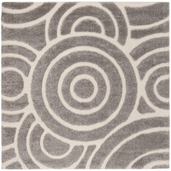"Safavieh Memphis Shag Grey / Cream Rug - 6'7"" x 6'7"" square"