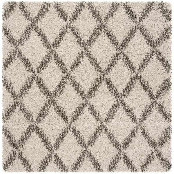 Safavieh Hudson Shag Ivory / Grey Rug - 7' x 7' Square