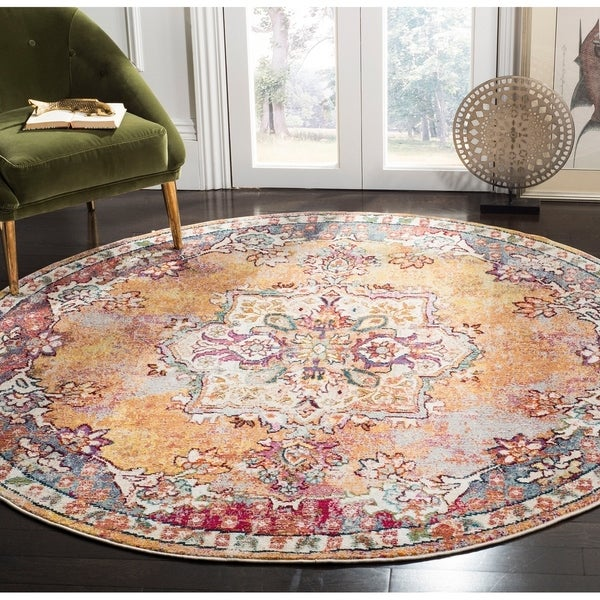 Safavieh Savannah Bohemian & Eclectic Yellow / Yellow Polyester Rug - 7' Round