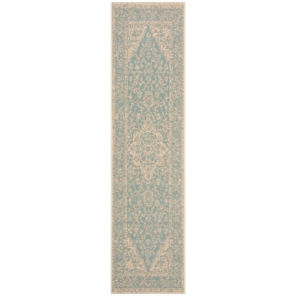 c2ffb044eb6a Shop Safavieh Linden Modern   Contemporary Aqua   Cream Runner Rug ...