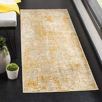 "Safavieh Porcello Modern Abstract Grey / Yellow Runner Rug - 2'4"" x 6'7"""