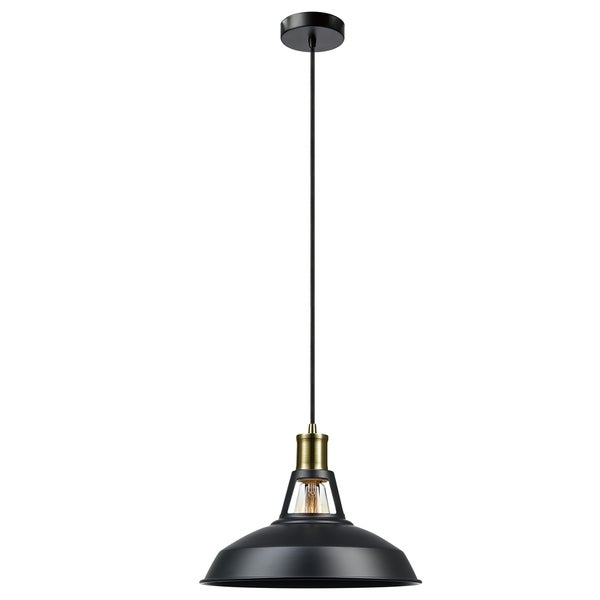 Robin 1-Light Plug-In or Hardwire Pendant, Satin Black, Black Cord