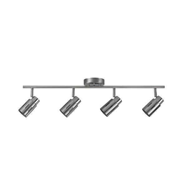 Kenneth 4-Light Brushed Steel Track Lighting Kit, LED Bulbs Included. Opens flyout.