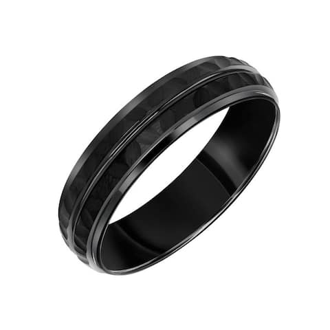 Cambridge 6mm Comfort Fit Black Tungsten Hammered Finish Band