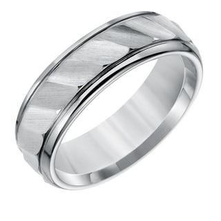 Cambridge 7mm Comfort Fit Grey Tungsten With Brushed Wave Finish