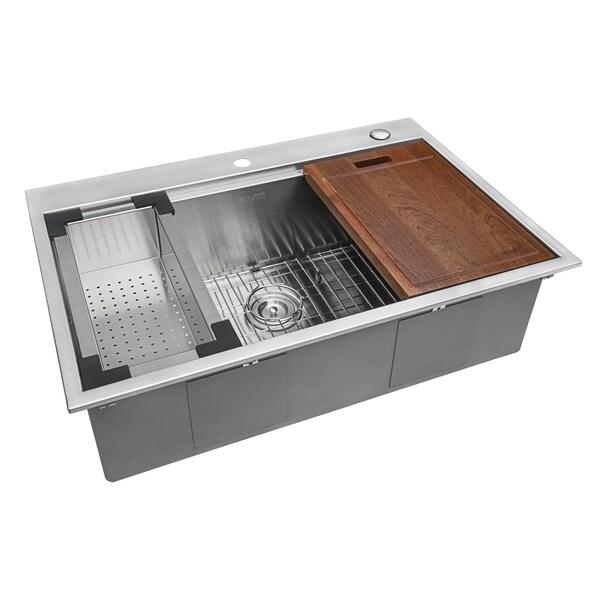 Ruvati 33 X 22 Inch Workstation Ledge Drop In Topmount Kitchen Sink 16  Gauge Stainless Steel Single Bowl   RVH8003