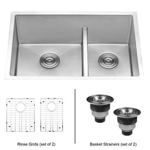 Ruvati 28-inch Low-Divide Undermount Tight Radius 60/40 Double Bowl 16 Gauge Stainless Steel Kitchen Sink - RVH7255