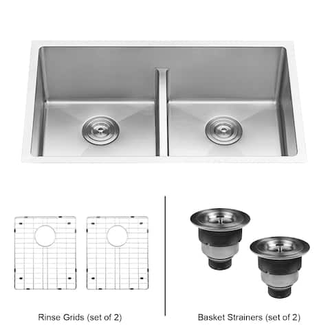 Ruvati 30-inch Low-Divide Undermount Tight Radius 50/50 Double Bowl 16 Gauge Stainless Steel Kitchen Sink - RVH7355