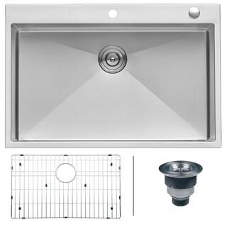 Ruvati 33 x 22 inch Drop-in Topmount 16 Gauge Tight Radius Stainless Steel Kitchen Sink Single Bowl - RVH8005