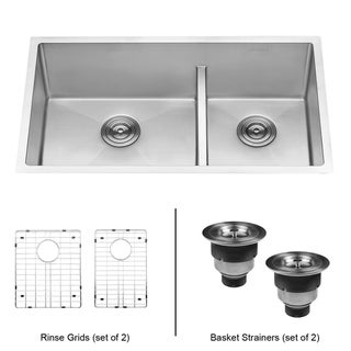Link to Ruvati 33-inch Low-Divide Undermount Tight Radius 60/40 Double Bowl 16 Gauge Stainless Steel Kitchen Sink - RVH7419 Similar Items in Sinks