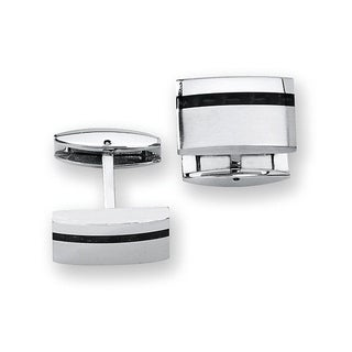 Stainless Steel with Carbon Fiber Accent Cuff Links