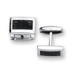 Stainless Steel with Reptile Finish Cuff Links