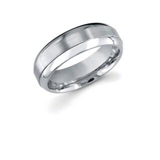 Men's Titanium Raised Middle with Brush Finish 7mm Wedding Band Ring