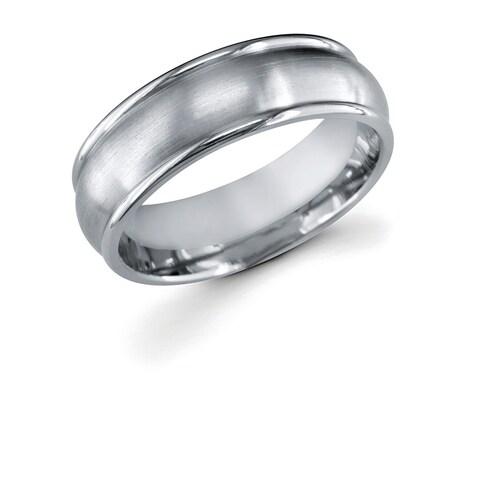 Men's Titanium 7mm Double Channel Wedding Band Ring