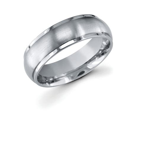 Men's Titanium 7mm Raised Middle with Brush Finish Wedding Band Ring