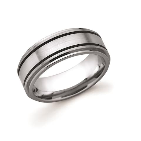 Men's Titanium 8mm Double Black Channel Accent Wedding Band Ring
