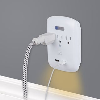 3-Outlet Surge Protector Wall Tap Night Light,2 USB Ports, Grounded