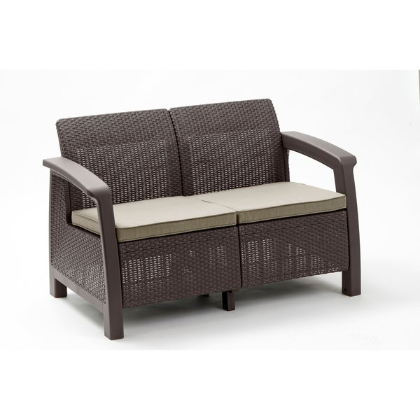 Keter Bahamas All Weather Outdoor Patio Loveseat With Cushions