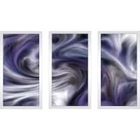 """Purple Wave"" Framed Acrylic Wall Art Set of 3"
