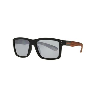 Anarchy Ari Men's Black and Wood Frame with Mirrored Lens Polarized Sunglasses