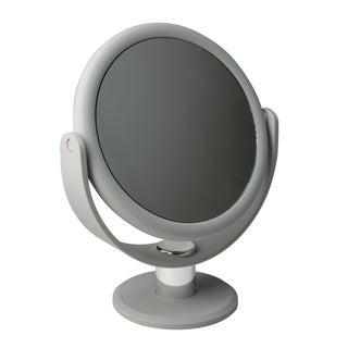 """Home Details Dual Sided 10X Magnification 7"""" Rubberized Vanity Mirror in Grey"""