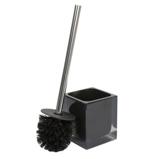 Bath Bliss Infused Cube Design Toilet Brush Set in Black