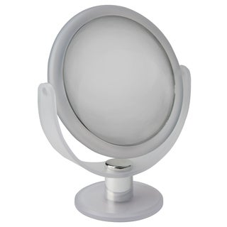 """Home Details Dual Sided 10X Magnification 7"""" Rubberized Vanity Mirror in Frost"""