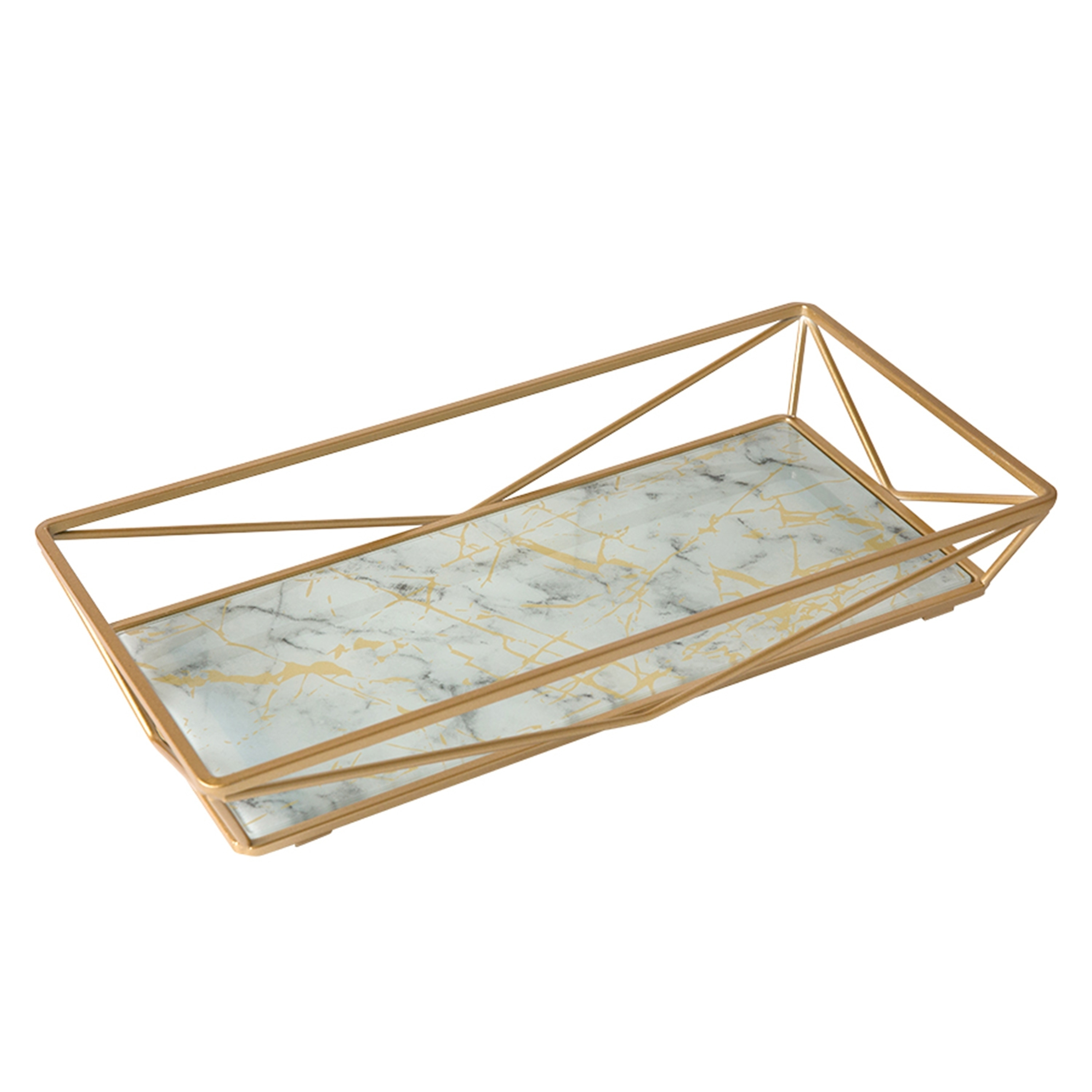 Home Details Marble Agate Design Geometric Vanity Tray In Gold Overstock 21130844
