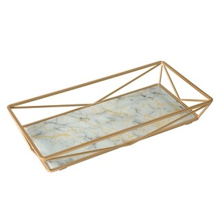 Home Details Marble Agate Design Geometric Vanity Tray in Gold
