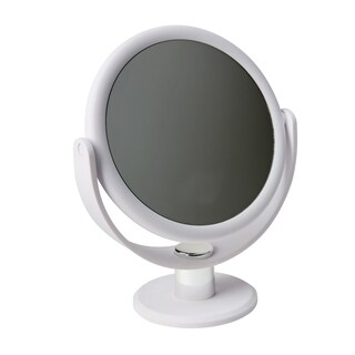 """Home Details Dual Sided 10X Magnification 7"""" Rubberized Vanity Mirror in White"""
