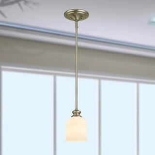 Marcos Satin Nickel 1-Light Pendant with Glass Shade
