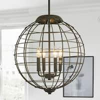 Romulus Oil Rubbed Bronze 4-Light Caged Globe Pendant