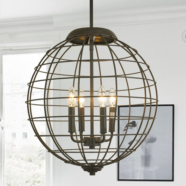 Romulus Oil Rubbed Bronze 4-Light Caged Globe Pendant