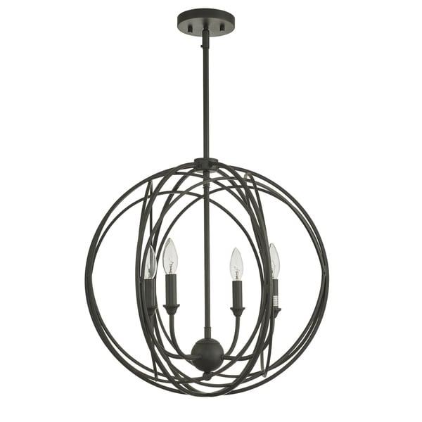 Lancelot Oil Rubbed Bronze 4-Light Globe Cage Pendant