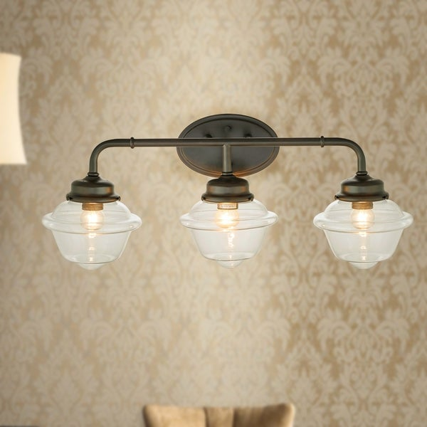 Sylvester Oil Rubbed Bronze 3-Light Wall Sconce with Glass Shade