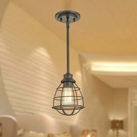 Terminus Oil Rubbed Bronze 1-Light Pendant with Cage Shade