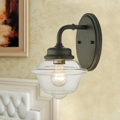 Nivor Oil Rubbed Bronze 1-Light Wall Sconce with Glass Shade