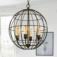 Ulysses Oil Rubbed Bronze 4-Light Caged Globe Pendant