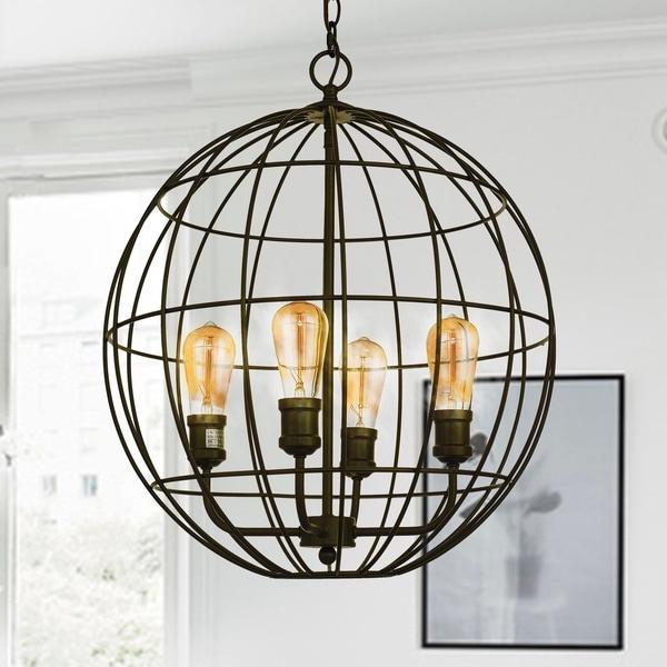Ulysses Oil Rubbed Bronze 4-Light Caged Globe Pendant