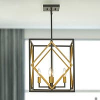 Hector Iron and Gold 4-Light Rectangle Cage Pendant