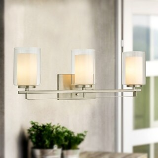 Constantin Satin Nickel 3-Light Wall Sconce with Dual Glass Tube Shade