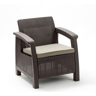 Keter Bahamas All-Weather Outdoor Patio Armchair with Cushion