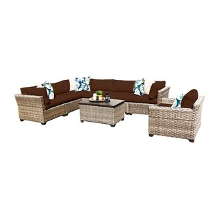 Sandbar OH0525 8-Piece Outdoor Patio Wicker Sectional Set with Storage Table