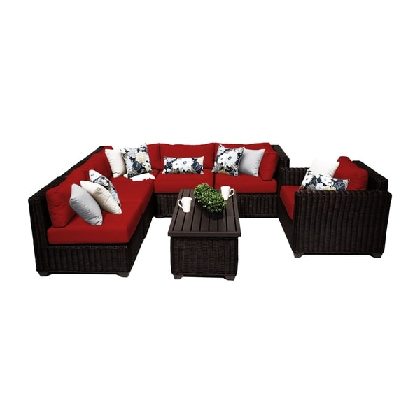 Shop Calypso OH0689 7-Piece Outdoor Patio Wicker Sectional ... on Safavieh Outdoor Living Granton 5 Pc Living Set id=25026