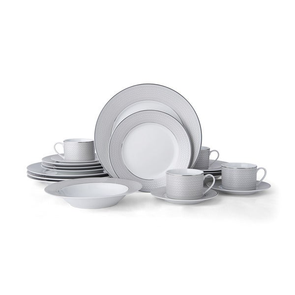 Mikasa Percy Grey 20 Piece Dinnerware Set  sc 1 st  Overstock.com & Mikasa Percy Grey 20 Piece Dinnerware Set - Free Shipping Today ...