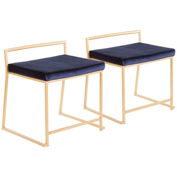 Fuji Contemporary-Glam Gold Stackable Dining Chair (Set of 2)