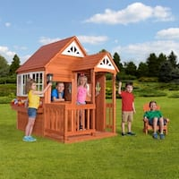 Backyard Discovery Deluxe Cedar Mansion Outdoor Wooden Playhouse